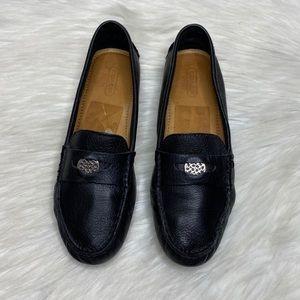 Coach Nicola Black Slip On Leather Loafers 6.5 B